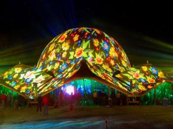 Fényfestés - Night Projection - Ozora Fesztivál Dome projection